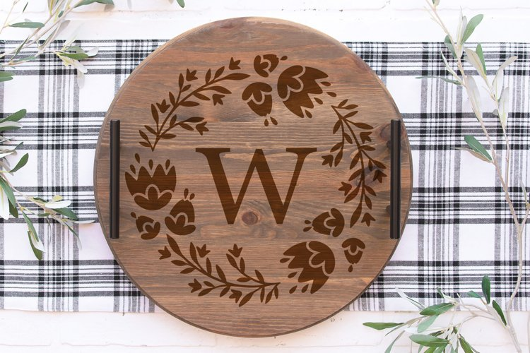 Floral monogram frame Cicut SVG cut file, Spring frame svg example 6