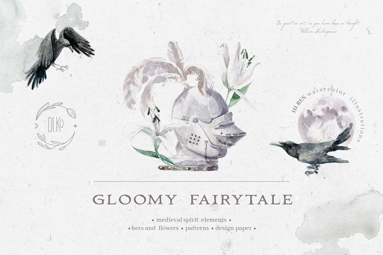 Gloomy fairytale graphic collection.