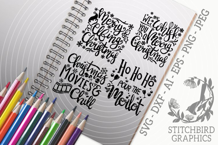 Christmas Quotes 3 Bundle SVG, Silhouette Studio, Cricut