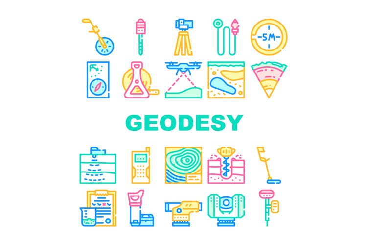 Geodesy Equipment Collection Icons Set Vector Illustration example image 1
