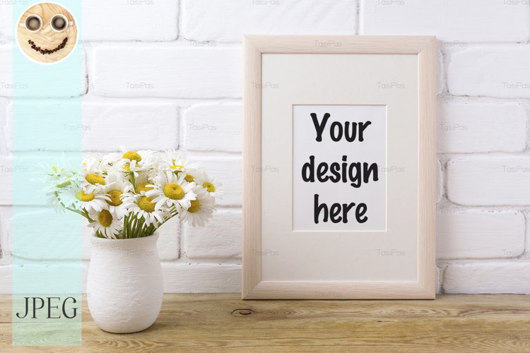 Wooden frame mockup with chamomile bouquet in rustic vase example image 1