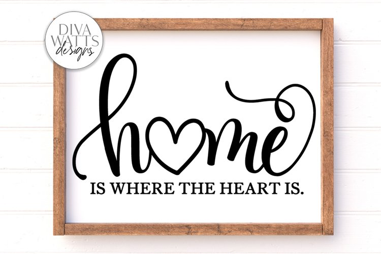 Home Is Where The Heart Is SVG | Farmhouse Sign example image 1