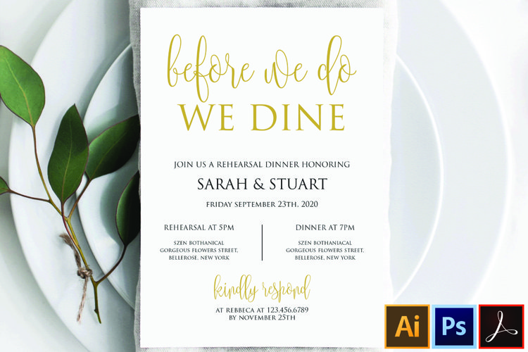 Gold Before we do we dine invitation, Printable rehearsal example image 1