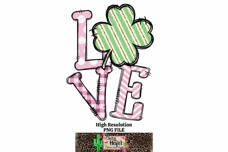 LOVE Pink St Patrick's Day Dye Sublimation PNG Design example image 1