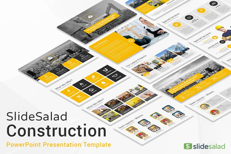Best Construction PowerPoint Template example image 1