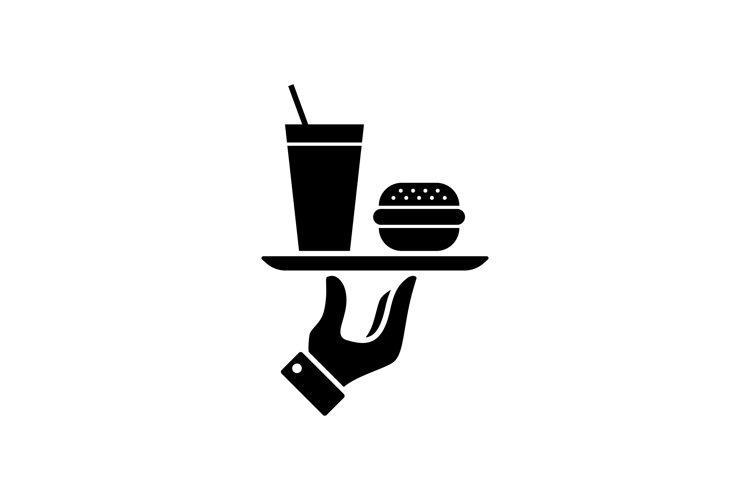 Fast food icon. Burger, hamburger and soda takeaway. Vector example image 1
