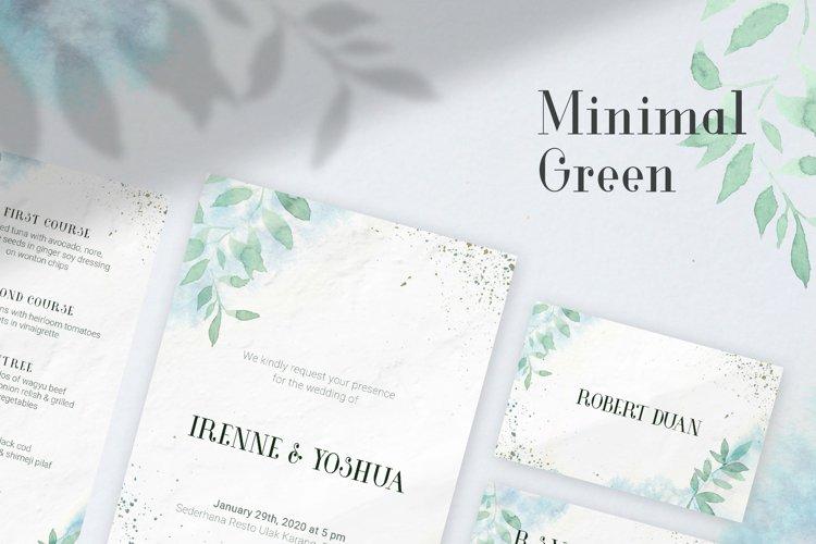 Minimal Green Watercolor Wedding Invitation example image 1