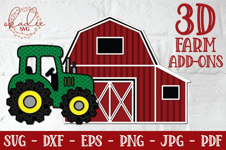 3D Tractor SVG, 3D Barn, Layered Tractor Cut File, Farm, DXF