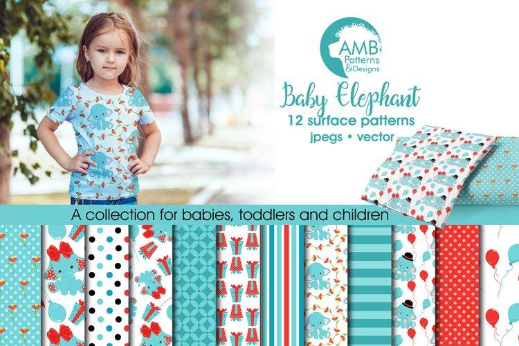 Baby Elephant Patterns, Elephant Papers, AMB-2279 example image 1