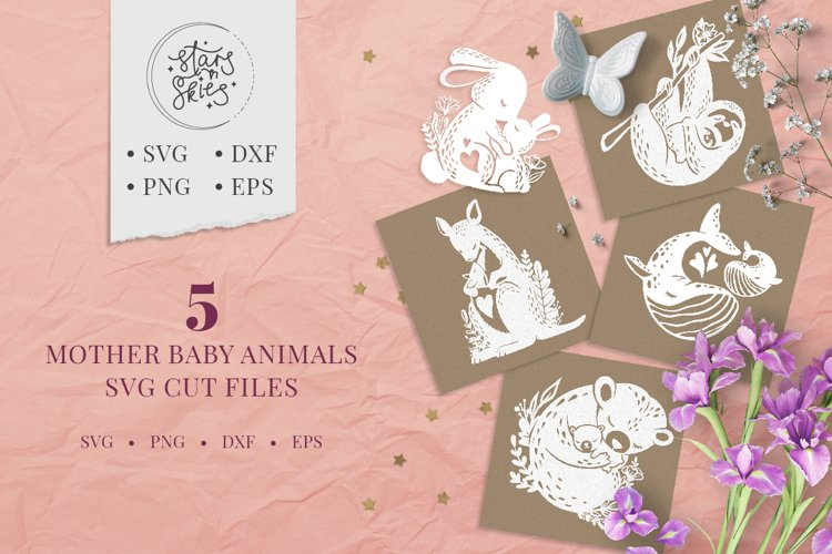 Mother Baby Animals SVG Cut-Files