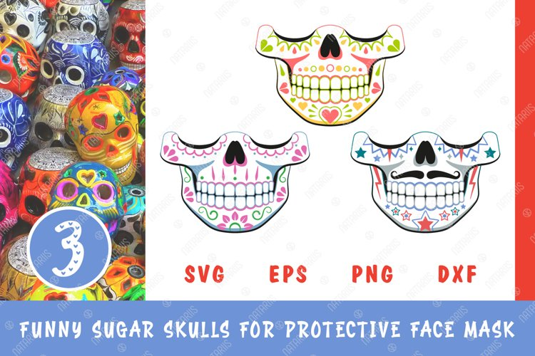 SVG Bundle. 3 Funny Sugar skulls designs for face mask. example image 1