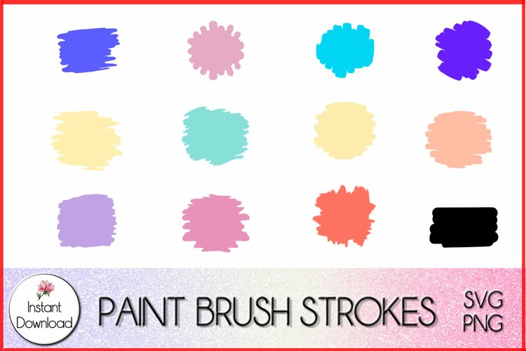 Paint Brush Strokes svg, Circle Keychain Template