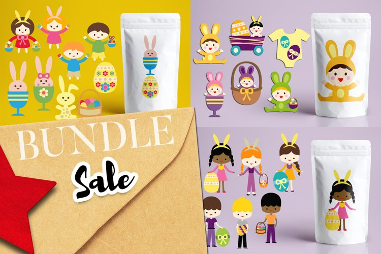 Easter kids and babies illustrations bundle