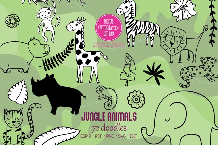 Jungle Animals Doodles | Hand Drawn Tropical leafs