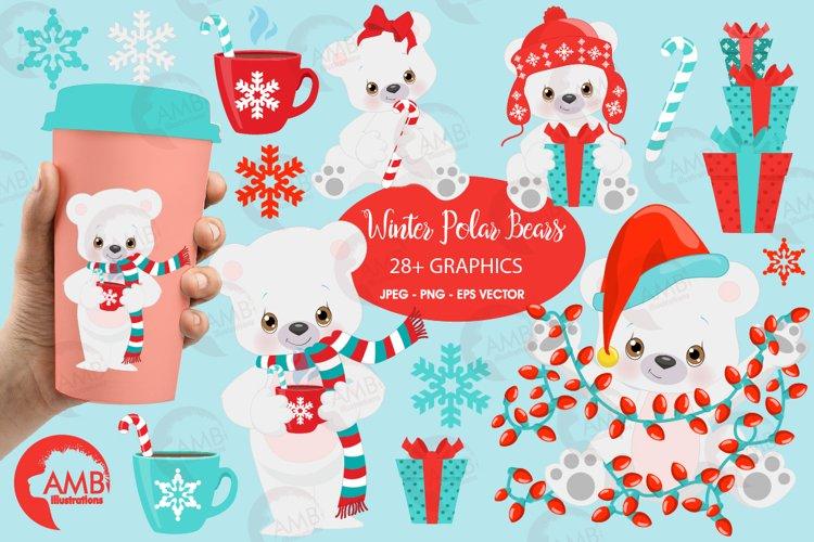Polar Bear clipart, Winter Bear clipart, Christmas bear illustrations AMB-2274