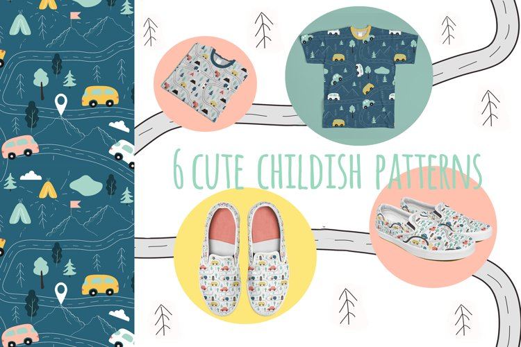 six cute vector childish patterns