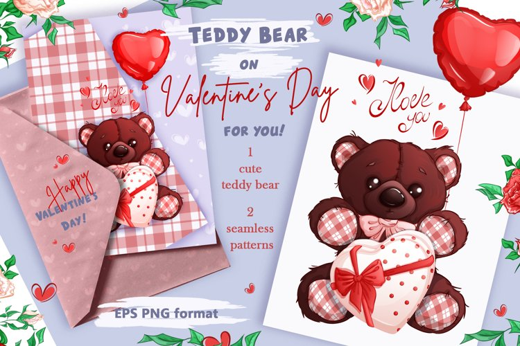 Teddy bear on Valentine's Day. Clipart and patterns. example image 1