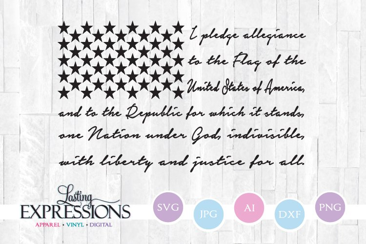 American Flag Pledge Quote SVG example image 1