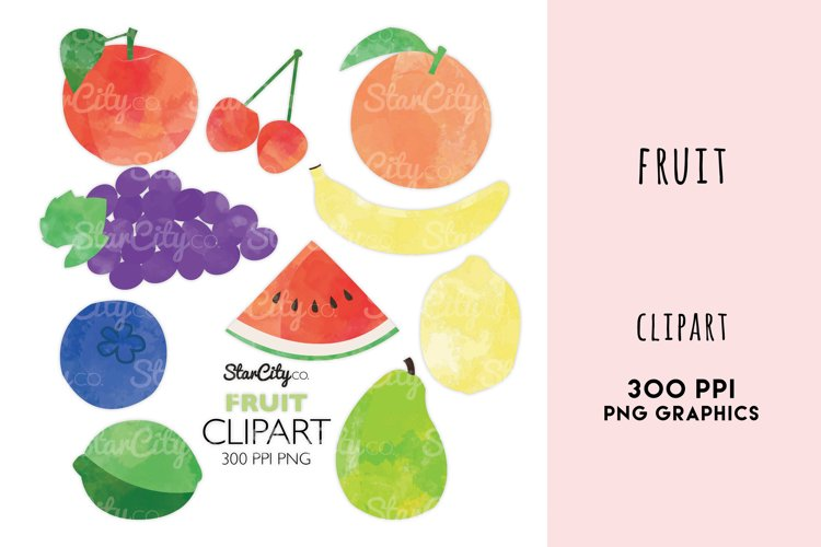 Fruit Clipart, Grapes, Watermelon art, Banana, Lemon, lime