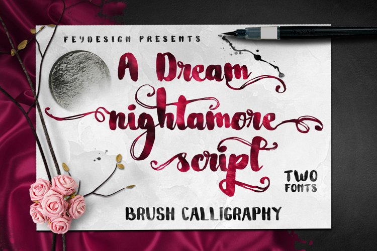 Nightamore Brush Calligraphy (Bonus Font) example image 1