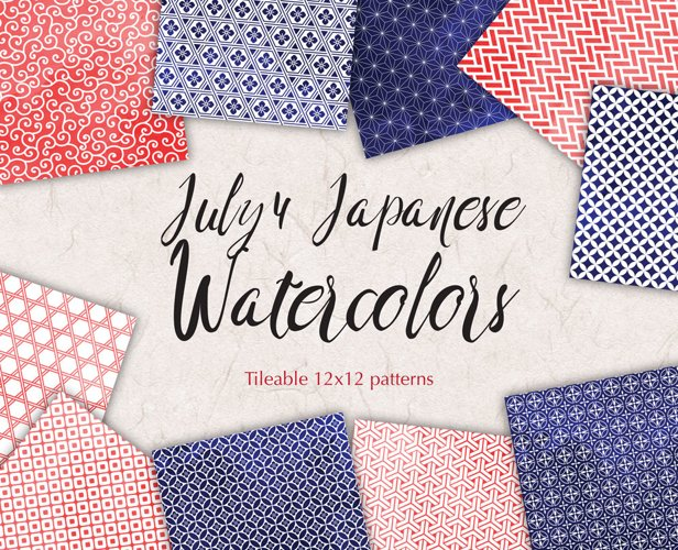 4 of July Digital Paper Independence Day Watercolor Background Patterns Red and Blue example image 1