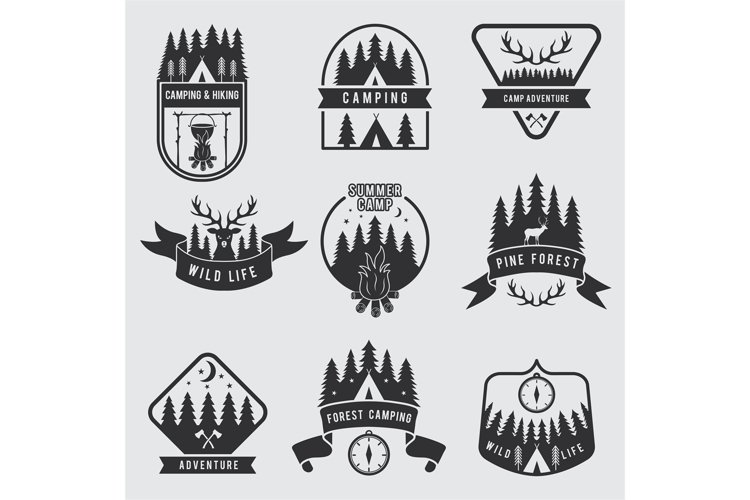 Outdoor camping labels set. Explorer monochrome badges. Adve example image 1