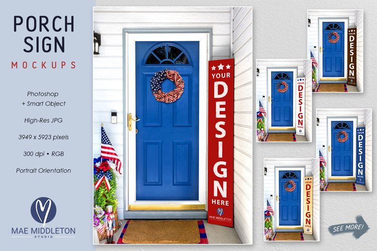 Vertical Porch Sign Mockup | Patriotic, 4th of July