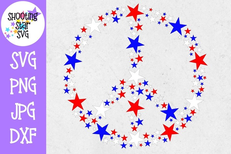 Peace Sign with Red White and Blue Stars- Fourth of July SVG