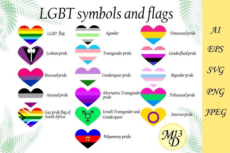LGBT rainbow flag. 16 PRIDE heart