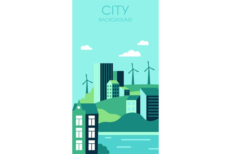 Ecological city background. Urban landscape with high modern example image 1