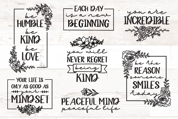 Vol 2 - Inspirational Quotes svg Bundle Floral example image 1