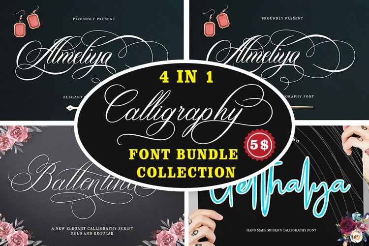 Calligraphy Font Collection Bundle. 4 IN 1 example image 1