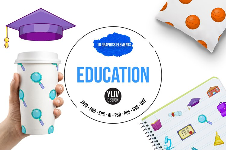 Education icons set, cartoon style example image 1