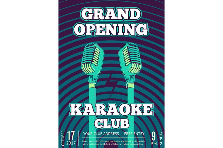 Vector karaoke club poster with retro microphones on radio s example image 1