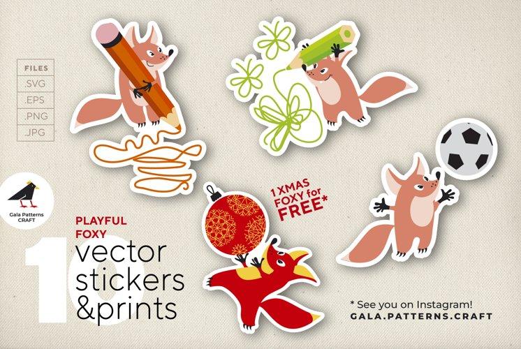 Cute playful little fox pet - stickers, print, sublimation