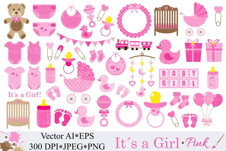 Baby Girl Clipart / Pink Baby Shower Clipart / Nursery Clip art / It`s a girl / Graphics / Illustration / Vector