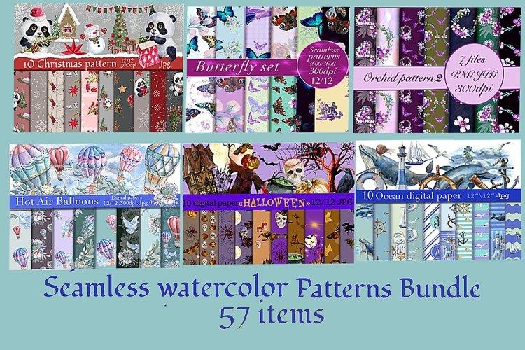 Mini bundle of watercolor seamless patterns.Digital paper example image 1