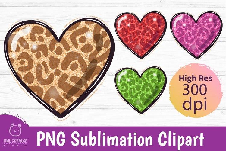Glitter Cheetah Hearts mini bundle, Cheetah heart png