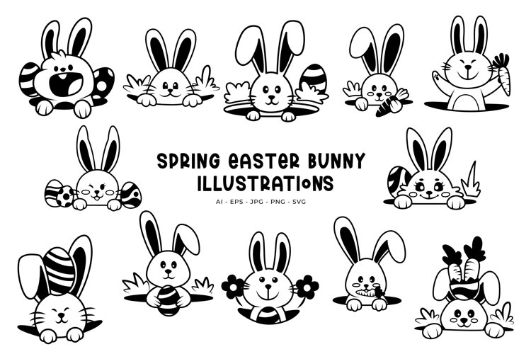 Spring Easter Bunny illustrations example image 1