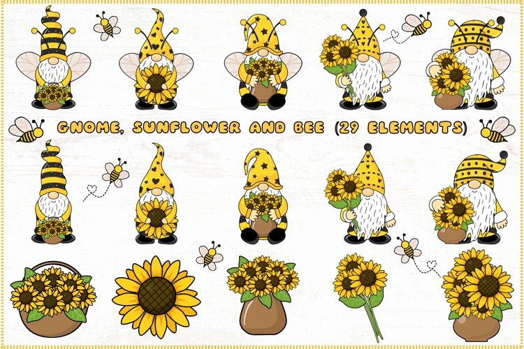 Gnome and bee clipart, Gnome clipart, Sunflower clipart
