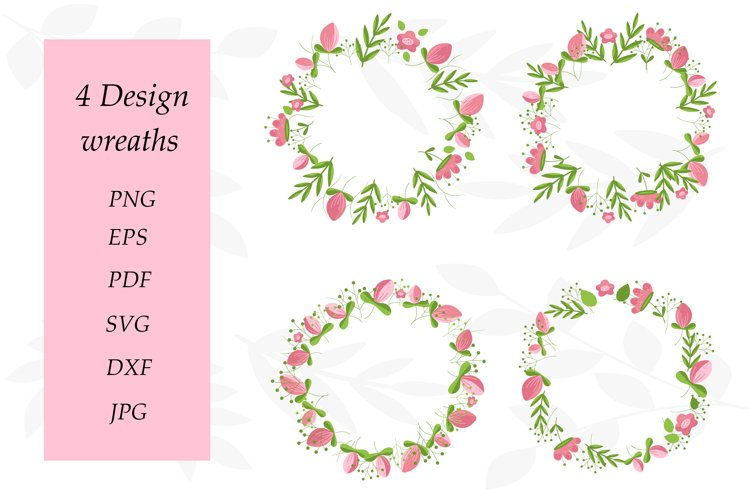 Flower Wreath PNG. Wreath Flower Pink. Sublimation Flowers example image 1