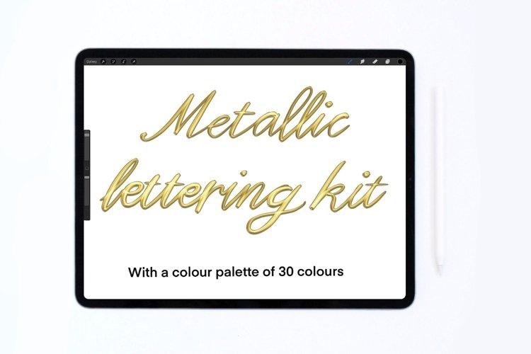 Procreate metallic brush, colour palette, lettering brush