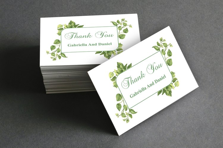 Green Thank You Card Template, instan download, DAD_08 example image 1