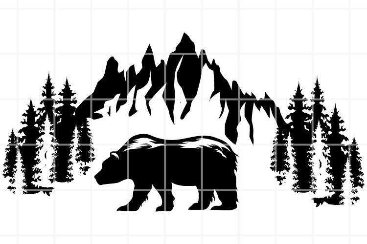 Mountains and bear SVG. Wild nature SVG. Mountains cut file.