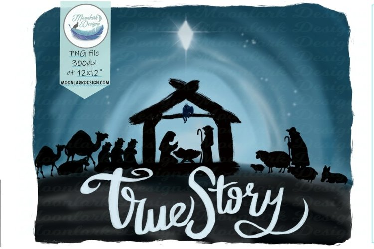 True Story, Christmas Nativity Scene Watercolor PNG example image 1