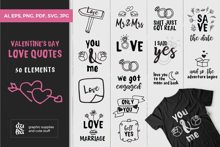 Valentine SVG Cut Files | Valentines Day Love Quotes