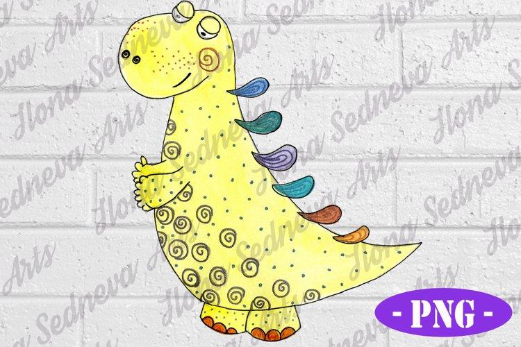 Cute Yellow Dinosaur PNG | Kids Shirt Design | Hand Drawn