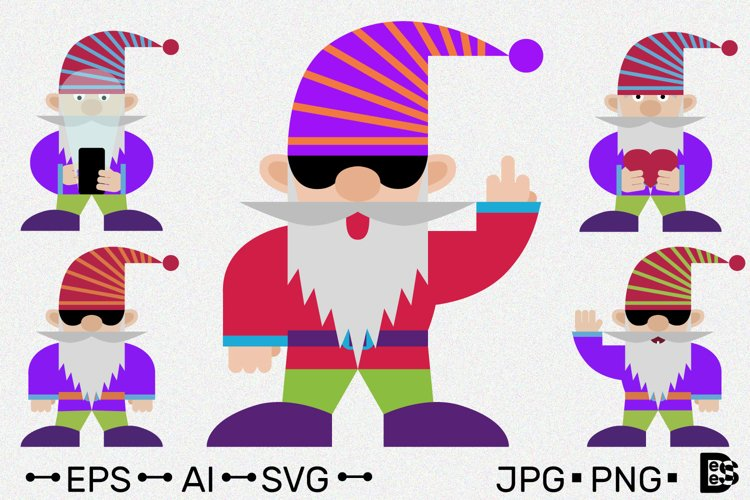 Gnome Clipart Pack. Cute Cartoon characters. Vector example image 1