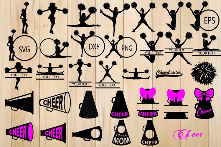 Cheer SVG Bundle, Cheerleader Silhouette, Cheer Megaphon example image 1