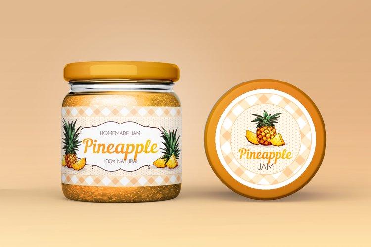 Vintage Pineapple Jam label/sticker design.
